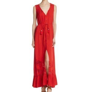 Band of Gypsies Red Boho Maxi Dress Size Large